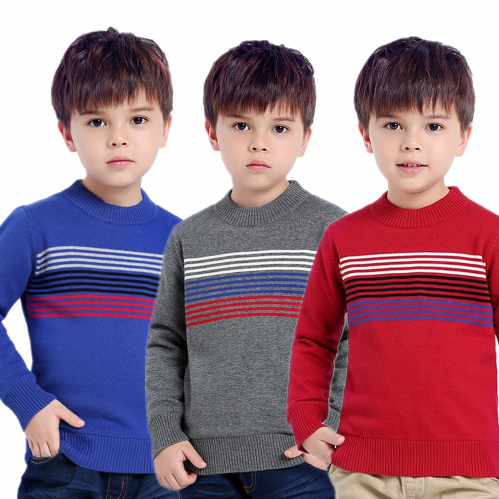 Blue Pinstripe Boys Winter Sweaters Autumn Outerwear Kids Thicken Knitwear Red Velvet Children Knitted Pullovers Full Sleeve Top 2018 autumn winter boys sweaters fashion blue kids knit pullovers jumper solid long sleeve toddler knitwear top children clothes page 2