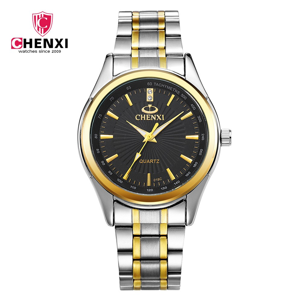 Luxury Top Brand CHENXI Men Dress Perhiasan Stainless Steel Emas Perak Quartz Jam Tangan Tahan Air Retro Pria Jam Bisnis