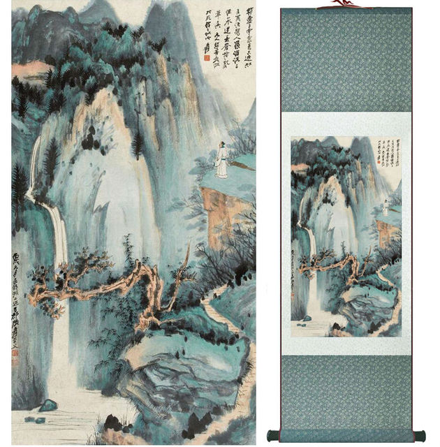 zhangdaqian mountain and river painting chinese scroll painting