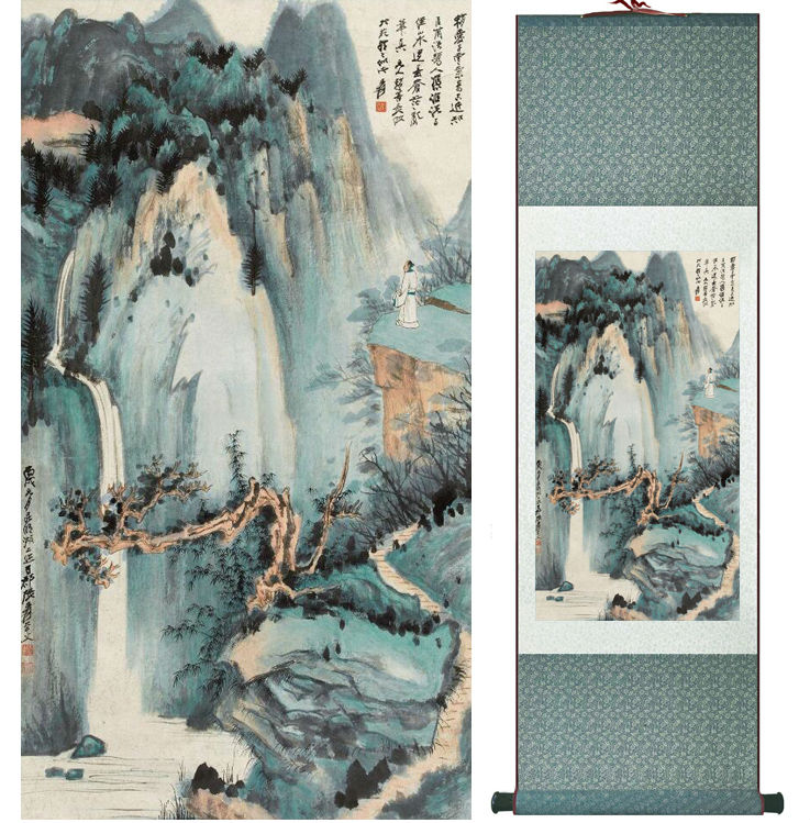 Zhangdaqian Mountain and River painting Chinese scroll painting landscape art painting home decoration painting 0402017