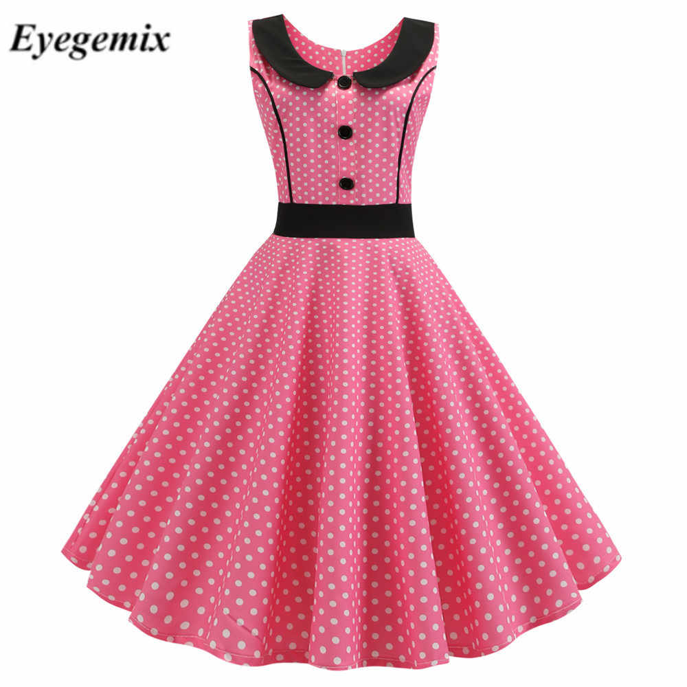 Pink Polka Dot Printed Vintage Dress Women 2019 Summer Retro 50s 60s Pin Up Rockabilly Party Dress Robe Vestidos Plus Size