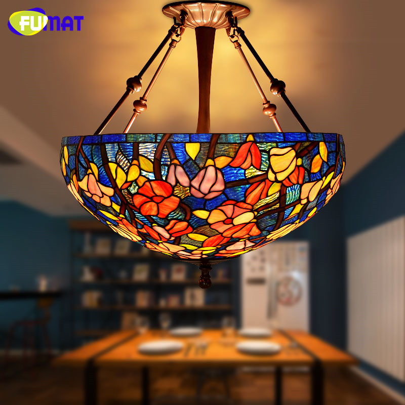 FUMAT Stained Glass Pendant Lamp Pastoral Tiffany Art Kapok Glass Pendant Light Living Room Restaurant Kitchen Pendant Lightings