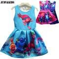 2017 летом подросток дети платья Троллей Мака магия партии причудливого платья косплей костюм девушки платье принцессы одежда vestido