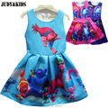 2017 summer teenage kids dresses Trolls Poppy magic fancy dress party cosplay costume girls princess dress clothes vestido