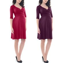 dabae7bfd Ropa para mujeres embarazadas Color sólido 3 4 manga cuello en V vestido  Formal vestidos de maternidad bebé ducha embarazo ropa .