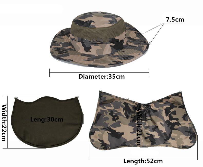 b74a0c76bb0 Men Mesh Camouflage Bucket Hat Wide Round Brim Fisherman Hats Women ...