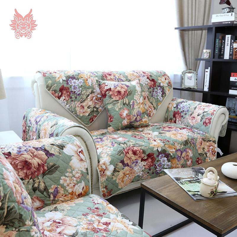 American Style Green/pink Floral Print Quilting Sofa Cover 100%cotton  Double Sided