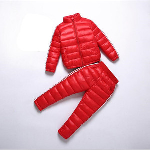 Image 5 - Liligirl 키즈 다운 코튼 스포츠웨어 의류 세트 소년 소녀 겨울 다운 재킷 + 바지 오버올 정장 2018 new baby snowsuit