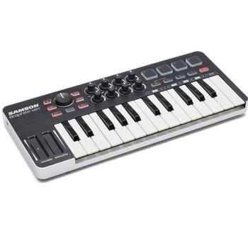 Oryginalny nowy Samson grafitowy kontroler M25 Mini USB MIDI 25 klawiszy na klawiaturę ipad przenośny do aranżacji występów tanie i dobre opinie Przewodowy GRAPHITE M25 Pojedyncze Mikrofon USB MIDI Controller 25 Keys