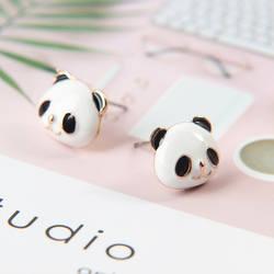 Мода девушка милая улыбка голова панды серьги гвоздики мультфильм изображения Эмаль серьги-гвоздики ювелирные изделия для женщин
