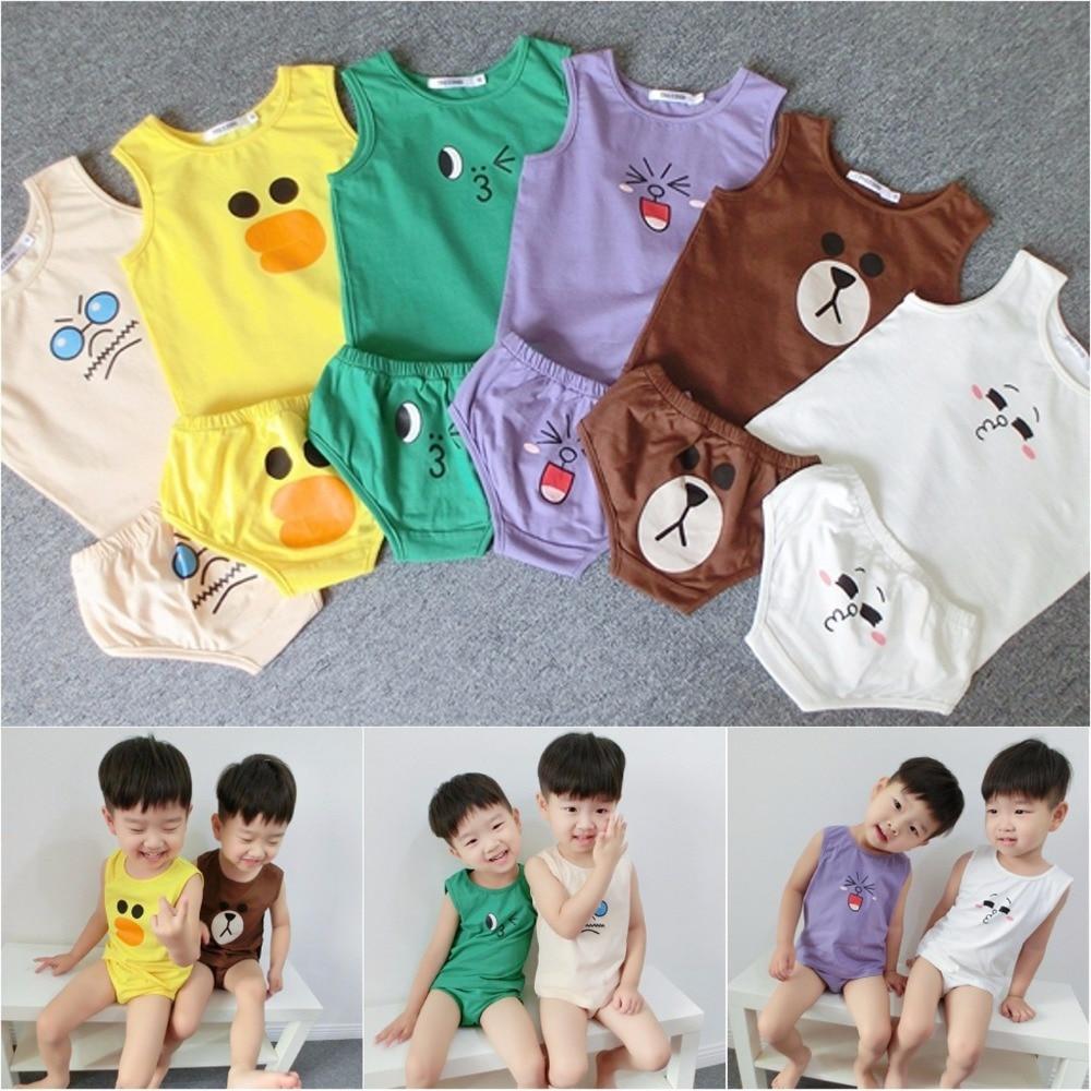 27a33118b 2016 Baby Boys Girls Summer Cool Cartoon Cotton Vest+Briefs 2pcs Set Kids  Smiling Bear Duck Clothing Suit Free Shipping