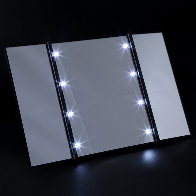 3 Folding Portable Touch Screen New Design 8 LEDs Lighted Makeup Mirror  Make Up Adjustable