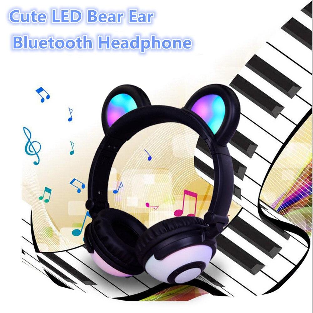 цена на New Bluetooth Earphone Foldable Flashing Glowing Bear Ear Headphone LED Light Headset Support TF Card for PC Laptop Mobile