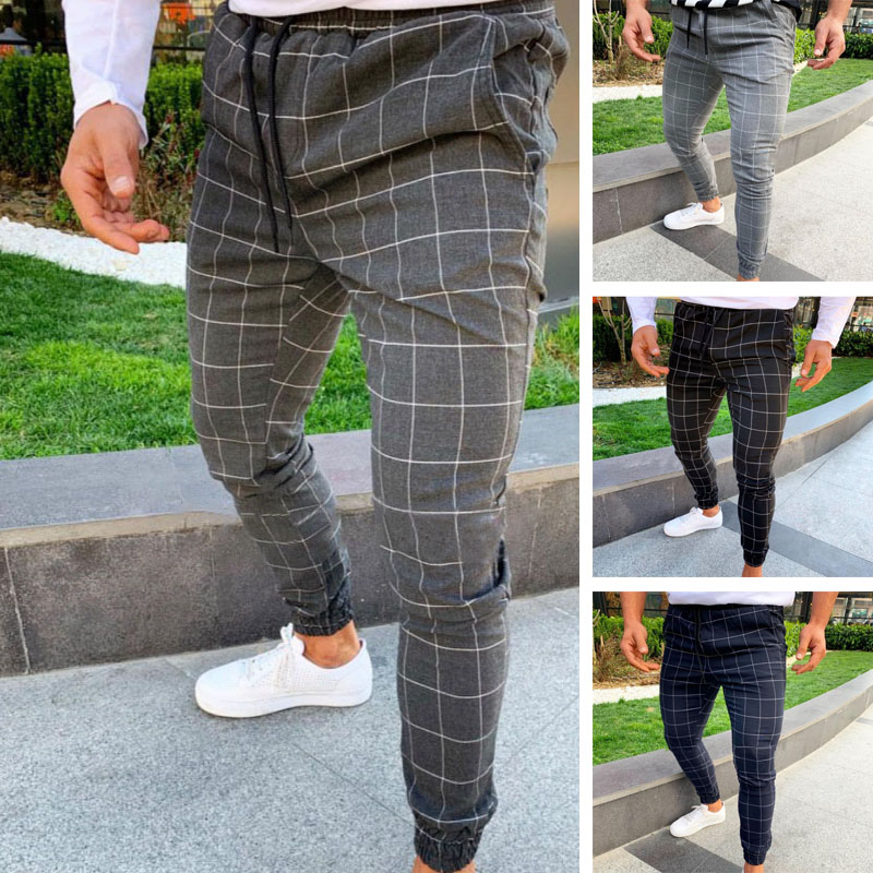 Men Casual Skinny Jogging Joggers Slim Fit Tracksuit Sport Sweat Plaid Pants Trousers TY66