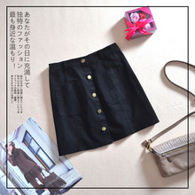 New Slim Double Pocket Single-breasted Skirt High Waist Short Skirt Solid Color Casual A-Line 2019 Summer corduroy single breasted dual pocket skirt