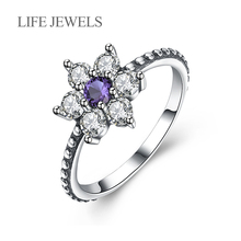 Authentic 100% 925 Sterling Silver Purple Zircon Flowers Rings Charm l Women Luxury Valentines Day Gift Jewelry