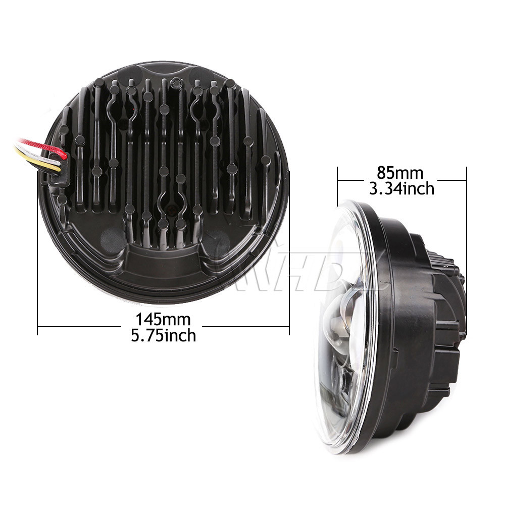 New 5.75 5-34 Inch Projector Round LED Headlight DRL for Harley Davidson Motorcycles (13)