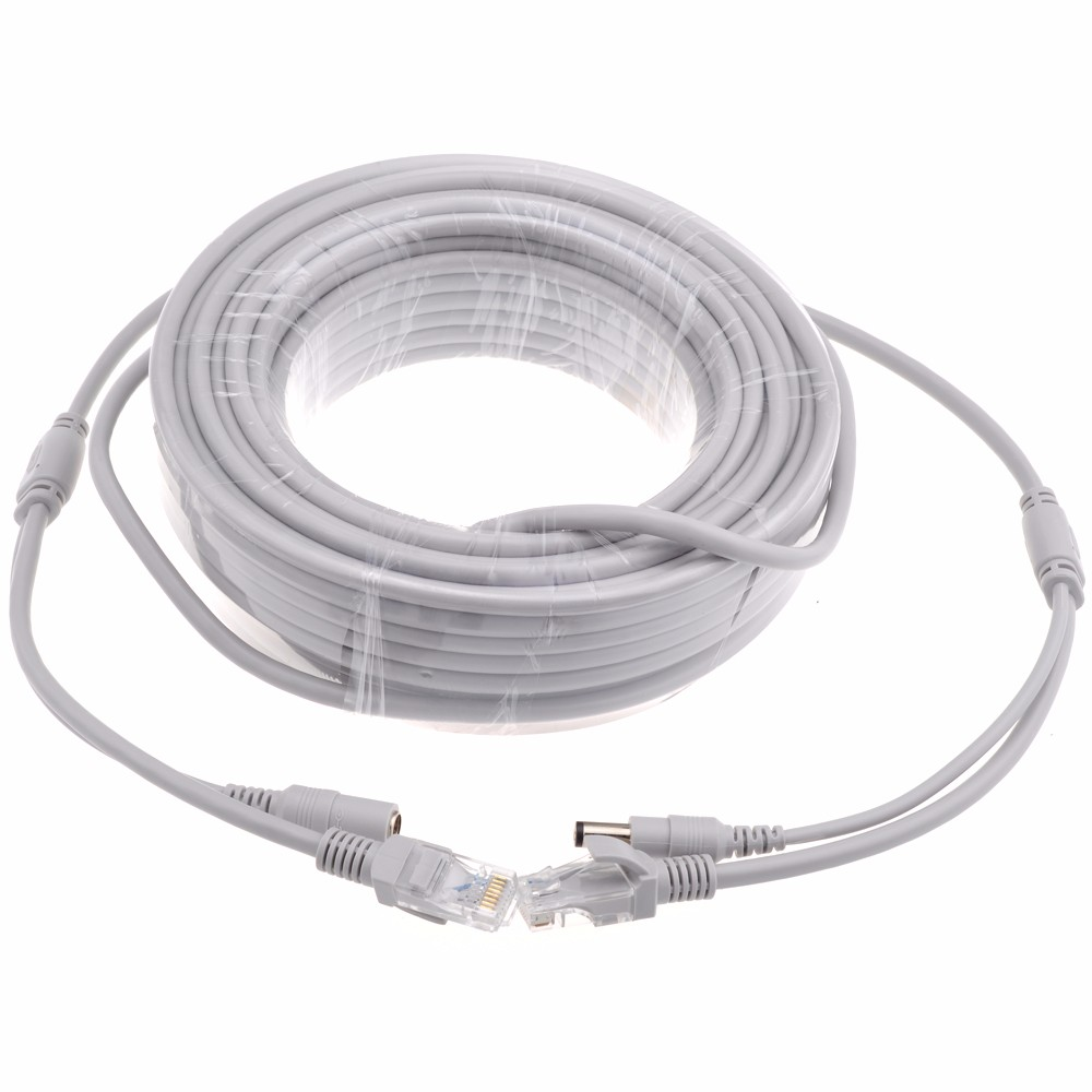 5M/10M/20M/30M Cat5e Ethernet Cable RJ45 Network LAN Cable + DC Power Router Computer Cable For IP Camera System