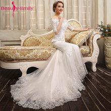 Beauty-Emily Vestido De Novia Bride Luxury Lace Mermaid Wedding Dresses 2017 White Boat Collar Half Sleeve Lace Up