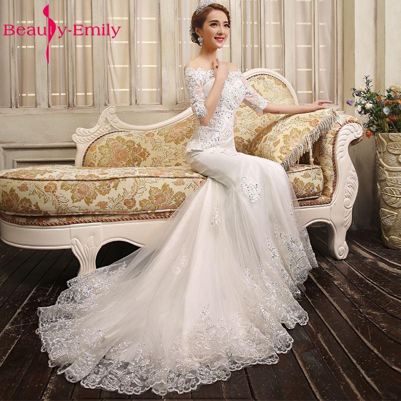 Beauty Emily Vestido De Novia Bride Luxury Lace Mermaid Wedding Dresses 2018 White Boat Collar Half Sleeve Lace Up