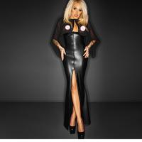 2016 Sexy Newly Long Maxi Mesh Club Dress With Cape Wetlook Vinyl Leather Clubwear Gothic Black