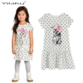 Character Cat Girl Dress Summer Girl Ruffel Letter Dresses Kids Clothes Polka Dot Child Girl Clothing Children Bow Dress CA387