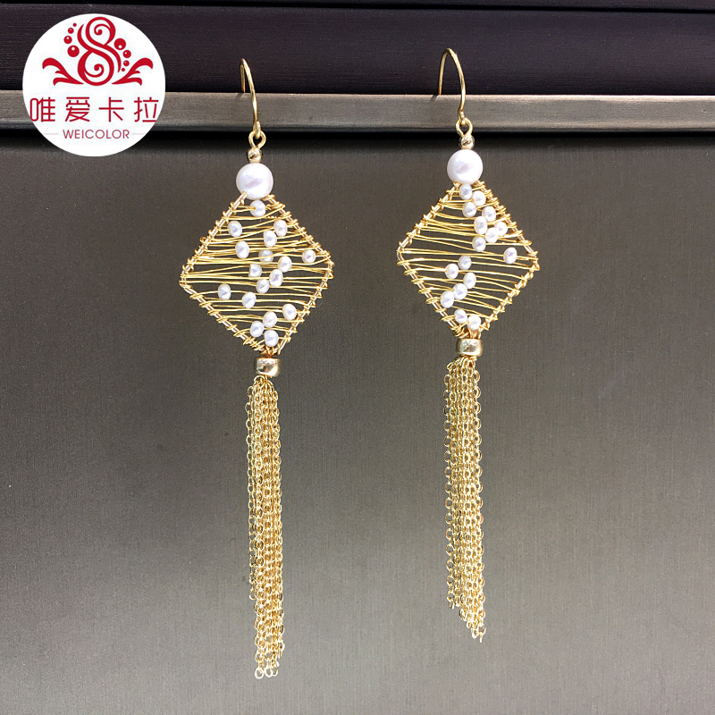 WEICOLOR DIY Newest Design Handmade Natural White Freshwater Earring Drops With Tassels. Gold Mixed Material, not lose color