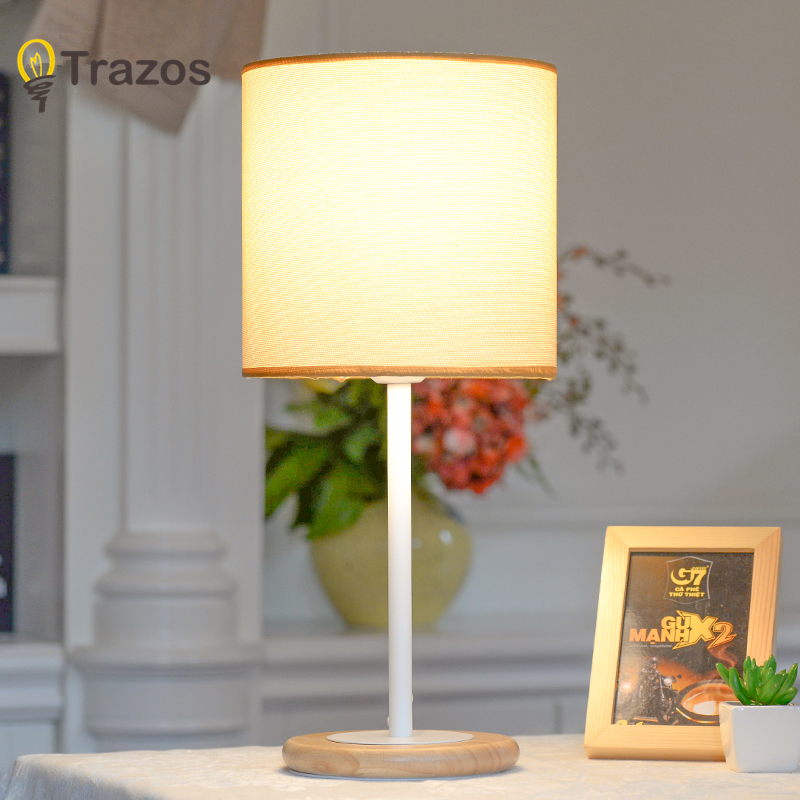 TRAZOS Nordic Wooden LED Table Lamp For bedroom Hotel Cloth Lampshade Bedside Lamps Home Study Reading Lighting E27 Book Lights botimi wooden table lamp with fabric lampshade bedside desk lights lamparas de mesa book lamps deco luminaria reading lighting
