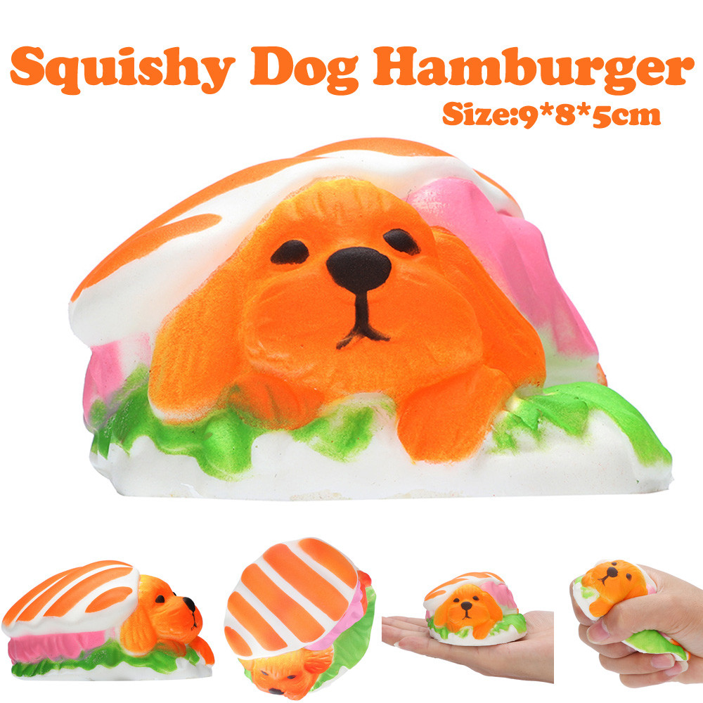 9cm Dog Hamburger Squishies Slow Rising Squeeze Scented Stress Relieve Toy High Quality Dropshiping W604