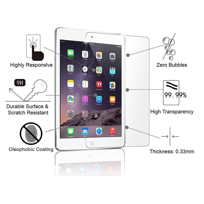 2.5D 9H Genuine Tempered Glass Screen Protector for iPad Pro 9.7 for iPad Air/Air 2 for iPad 9.7 2017 2018 Glass Screen