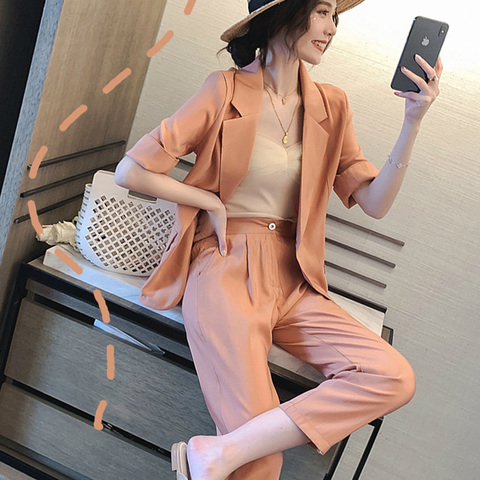 Office Lady Casual Solid Women Pant Suits Blazer Jacket Women Wear to Work fashion Suits 2019 Summer Casual 2 Pieces Set Karachi