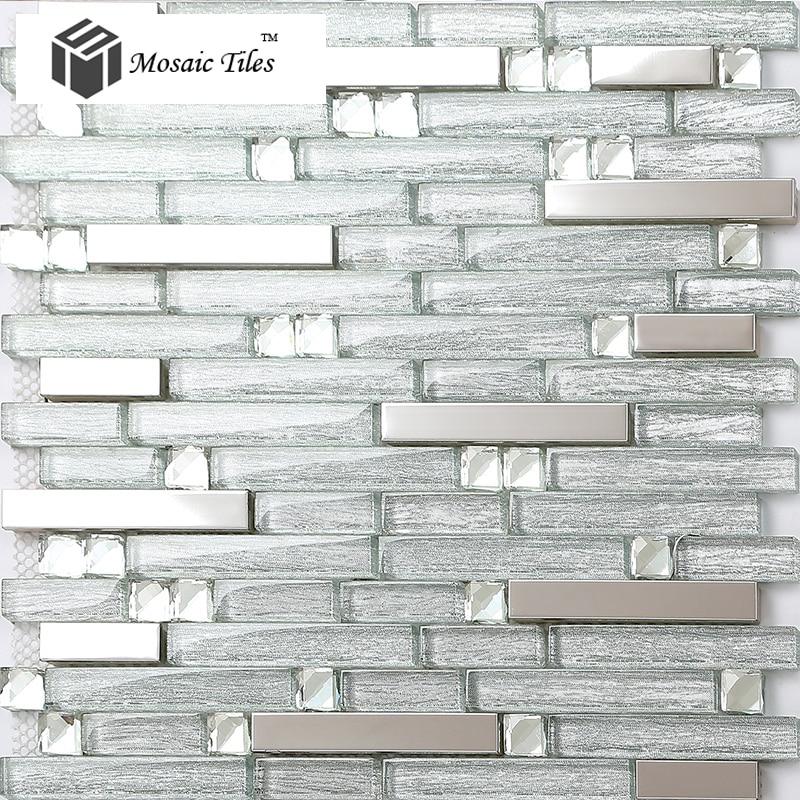 silver strip crystal glass tile stainless steel kitchen backsplash bar counter bathroom shower deco wall mosaic art
