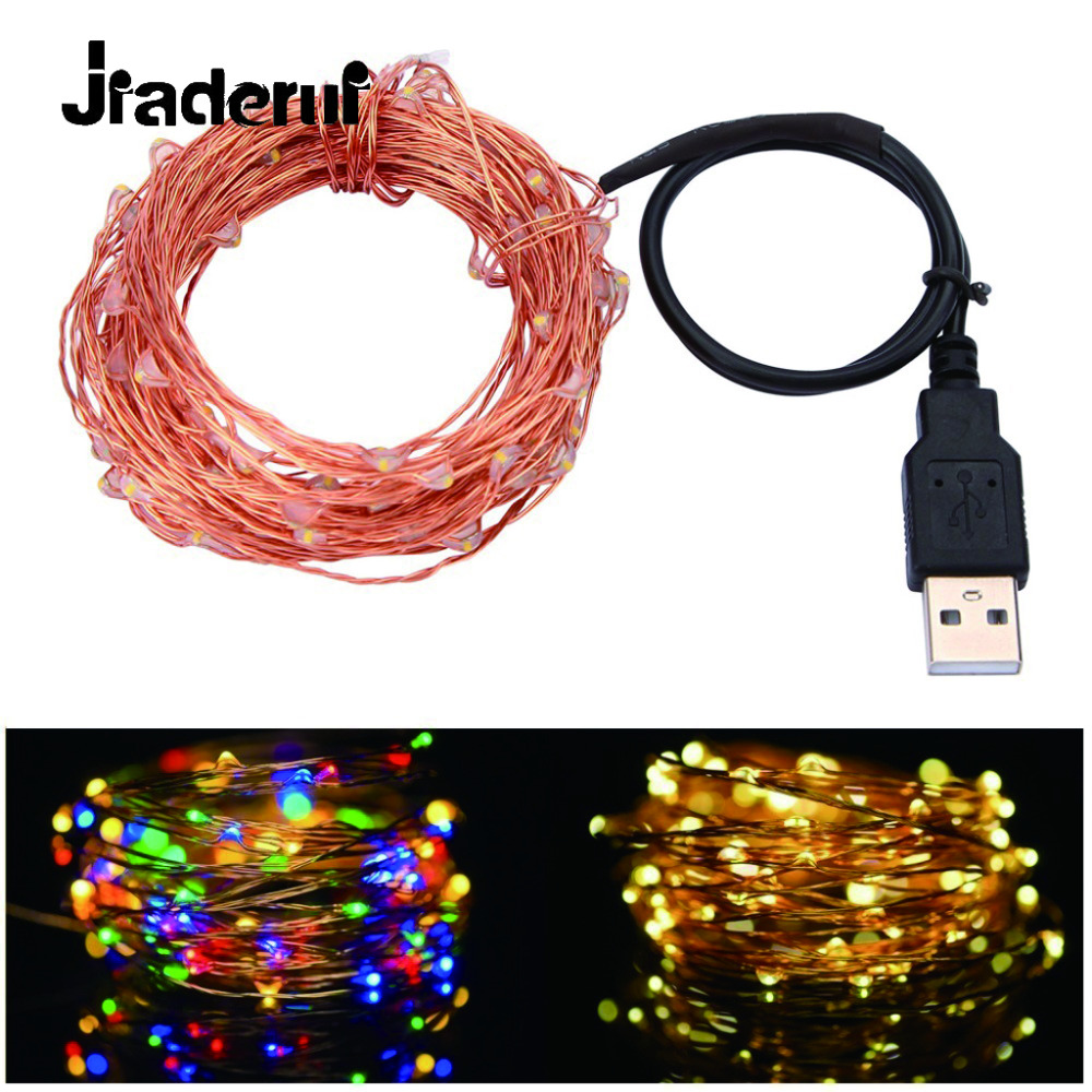 Jiaderui LED Copper / Silver Wire String Lights USB 10M 100 LEDs Christmas Festival Wedding Party Garland Decoration Fairy Light