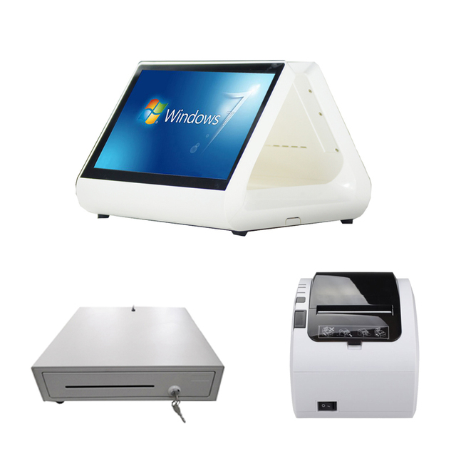 Free shipping 12 inch double screen all in one pc with printer cash drawer for restaurant 2017 hot cash register