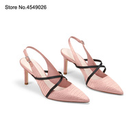 2019 Brand New CK Women Shoes High Heel Women Shoes Matching Shoes and Bag Set Pointed Toe Lace Up High (5cm 8cm) Basic Silk