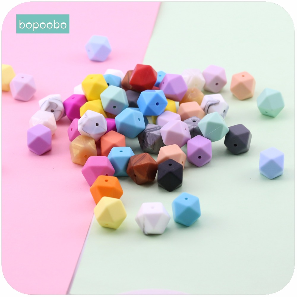 Bopoobo Baby Nursing Teether Silicone Octagonal Beads 17mm 10pc Can Chew Pram Toy DIY Jewelry Nursing Accessories Baby Teether