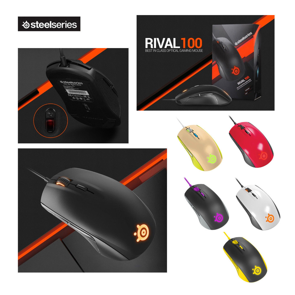 Brand New SteelSeries Rival 100 Gaming Mouse Mice USB Wired Optical 4000DPI Mouse With Prism RGB Illumination For LOL CS motospeed v2 high precision usb 2 0 wired gaming optical mouse black
