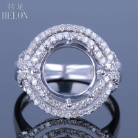 HELON Round Cut 11 12mm Solid 14K AU585 White Gold Ladies Engagement Wedding Semi Mount Natural Diamonds Ring Trendy Jewerly