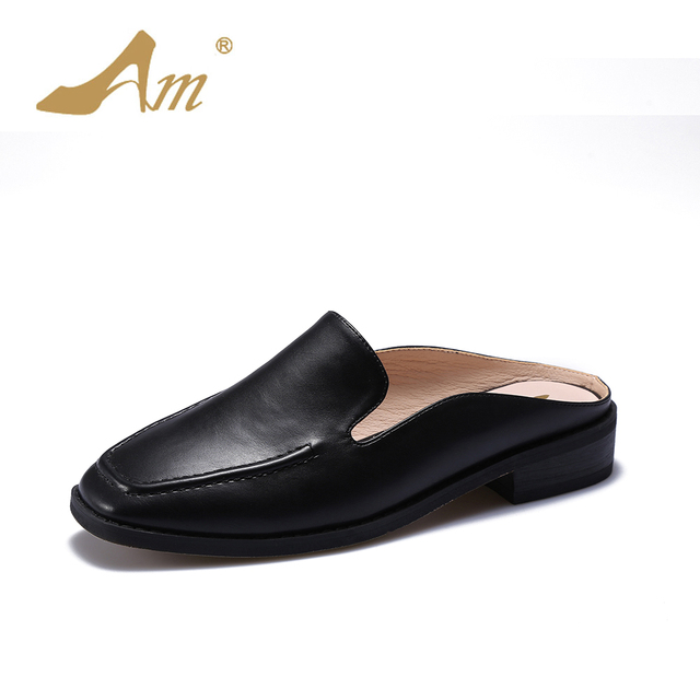 5289cee8d4ca7e Ame summer new women s slippers low heels flats comfortable loafers mules  square toe brand shoes retro style