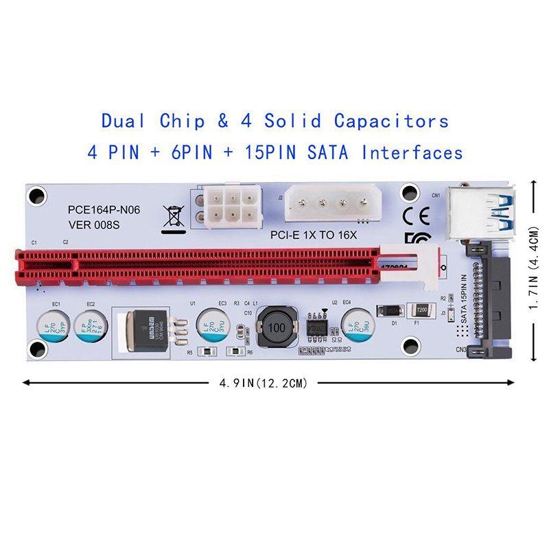 Hot Selling 6PCS 008S 3 In 1 PCIe PCI-E PCI Express Riser Card 1x To 16x USB 3.0 Data Cable For Bitcoin Mining BTC Graphics Card-4