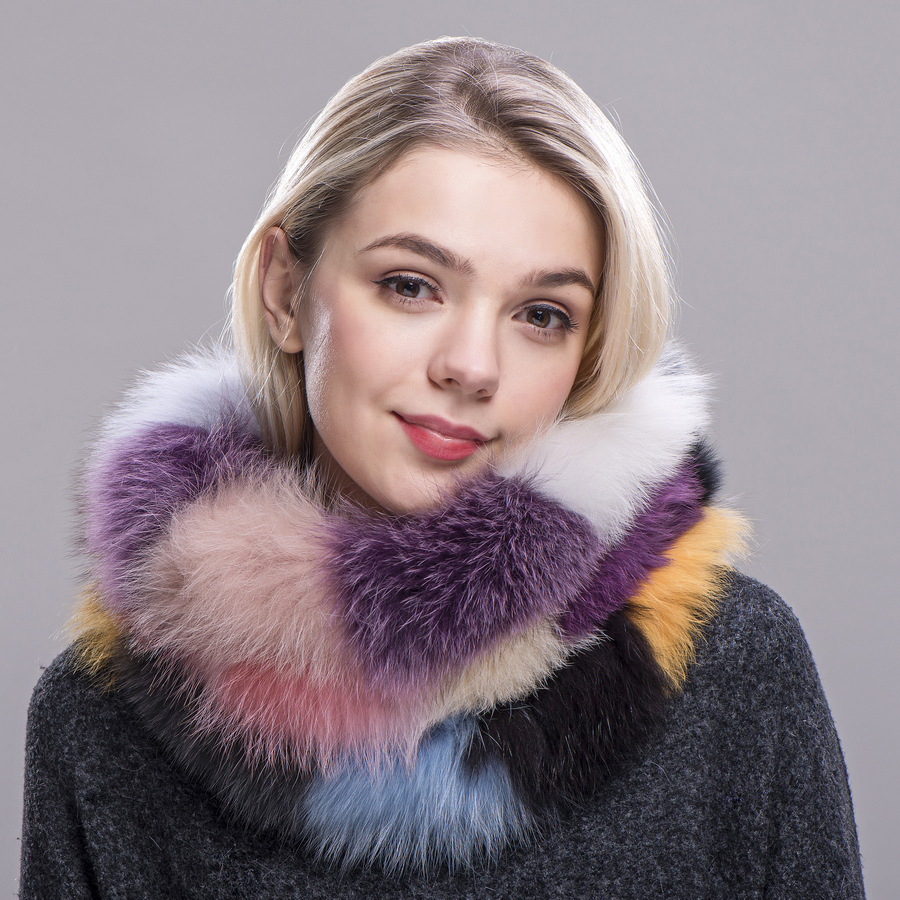 ZDFURS* Hot Brand New Genuine Real Fox Fur   scarves   Women's Lady Fur   Scarf   Ring Cowl Snood Infinity   Scarf     Wraps   Shawl