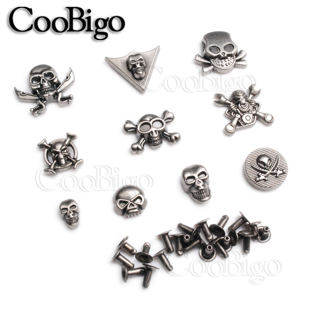 30x Skull Stylish Studs Rock Rivet Spike for Clothing Shoes Leather Craft