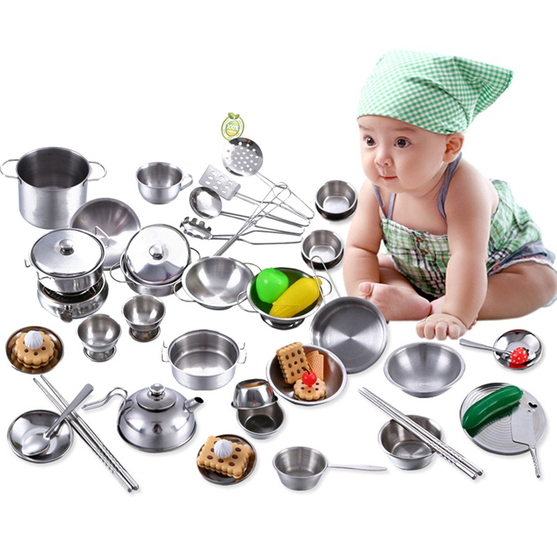 Kitchen Toys Educational Kids Kitchen Utensils House Cooking girls boys Pretend Play Style Stainless Steel Kitchen goods Pots
