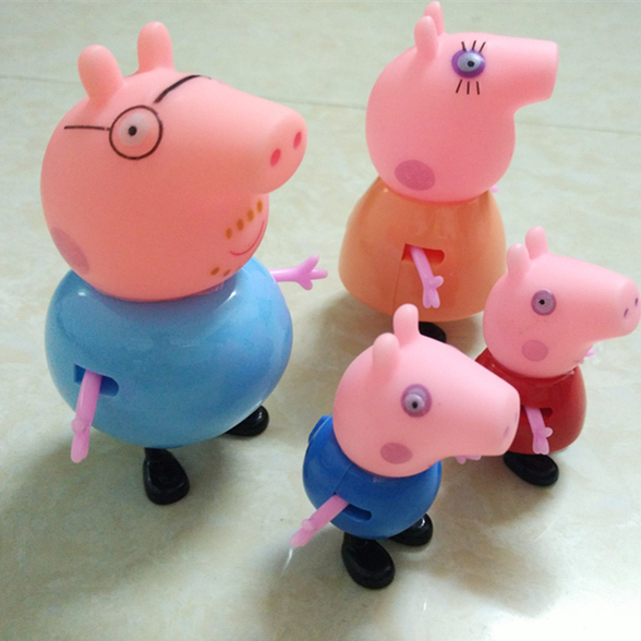 (4pcs/lot) 2016 Pink Blue Pig The Family Members Puppets Animal Model Western Animation Childrens Gift Head Hands Movable PY032