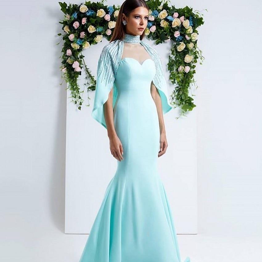 Fashion Light Blue Beaded With Cape Dubai Arabic Kaftan   Dresses     Evening     dresses   Long Prom Gowns Formal   Dress   Abendkleider 2017