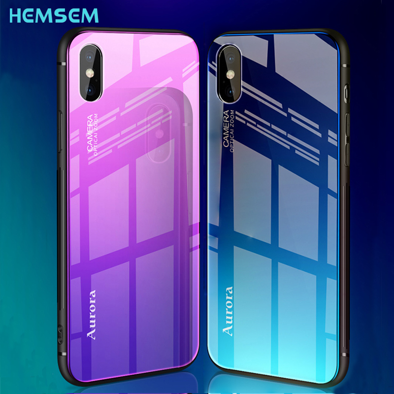 for iPhone XS Max XR X Blue Ray Gradient Tempered Glass Phone Case For Apple iPhone XR 2018 XSmax 6 6S 7 8 Plus 6plus 8plus Cove iPhone XS