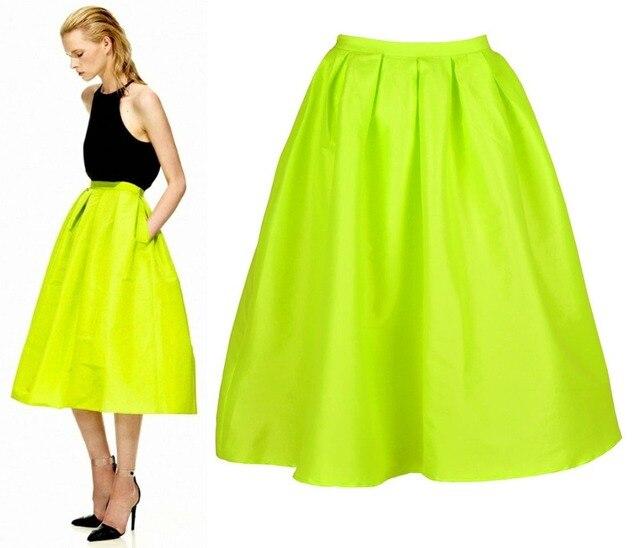 dc5c67d7c Street Bright Neon Yellow/Green Midi Full Prom Pleat Skirt Faille Viva  Luxury