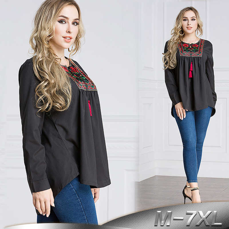 Plus Size 6XL 7XL 2019 UAE Islam Arabic Abaya Dubai Turkey Muslim Long Sleeve Top Women Ropa Musulman Mujer Saudi Arab Clothing