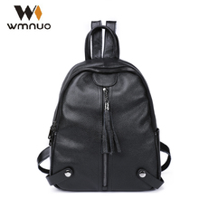 Wmnuo Women Backpacks Genuine Cow Leather Female School Bags Girls Small Bagpack Mochila 2018 Fashion Travel Bag Casual Backpack women backpacks personality modeling hit the color of the small female backpack multi bag casual genuine leather shoulder bags