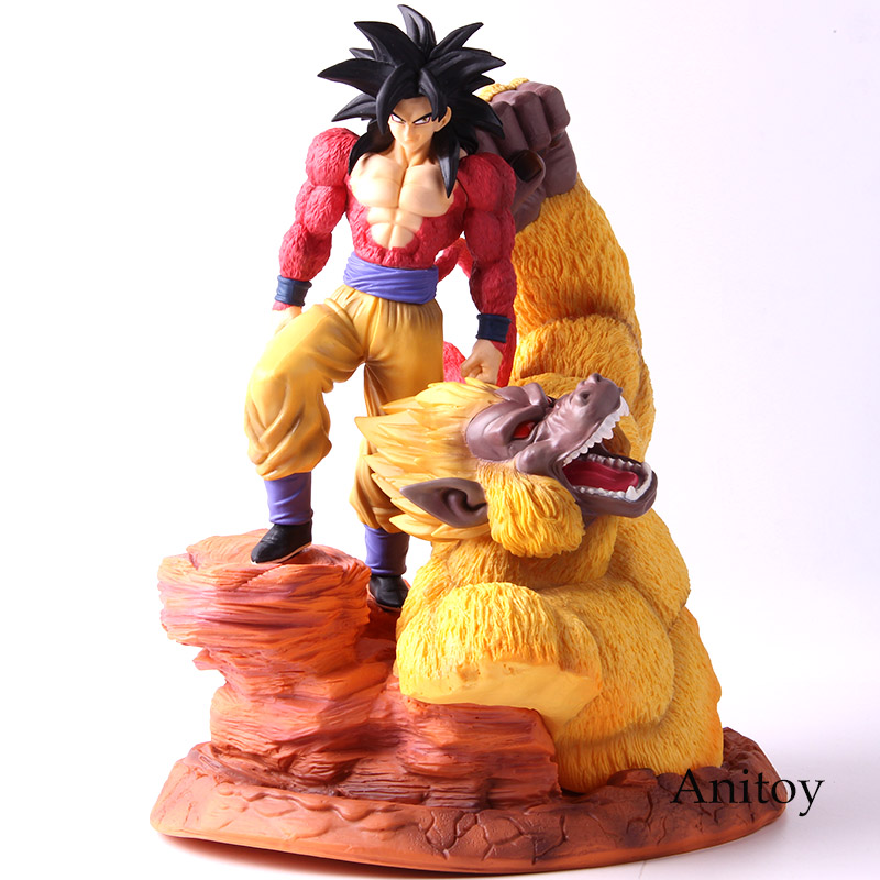 Dragon Ball SSJ4 Goku Super Saiyan 4 fils Gokou or grands singes scène Statue Dragon Ball Z figurines à collectionner modèle jouet